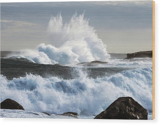 Extreme Weather With Waves Crashing On Wood Print by John White Photos
