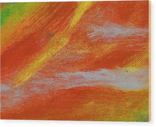 Exuberant Yellow Orange Wood Print by L J Smith