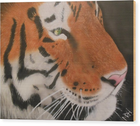 Eye Of A Tiger Wood Print by Michael Hall
