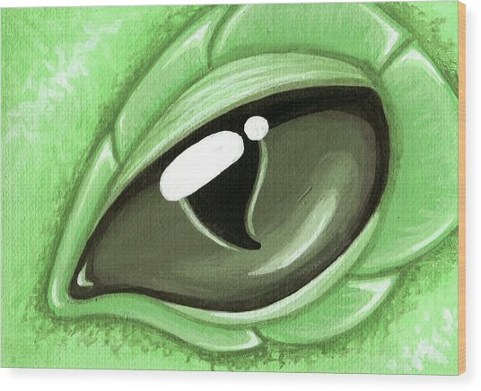Eye Of The Mint Green Dragon Hatchling Wood Print by Elaina  Wagner