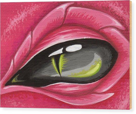 Eye Of The Rubellite Dragon Wood Print by Elaina  Wagner
