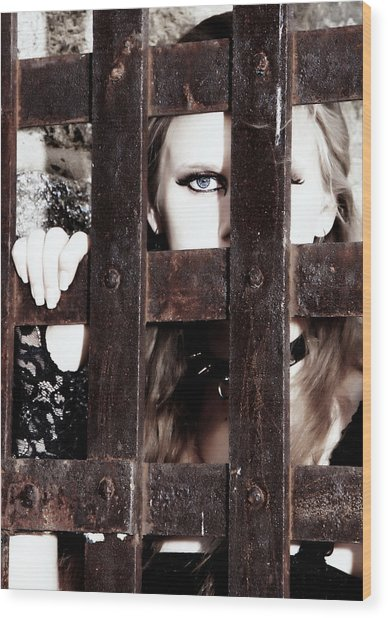 Eye See You From Behind The Bars Wood Print