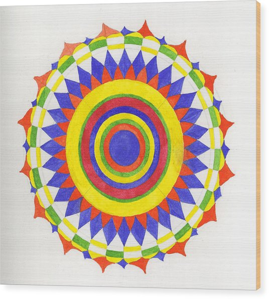 Eye World Mandala Wood Print by Silvia Justo Fernandez