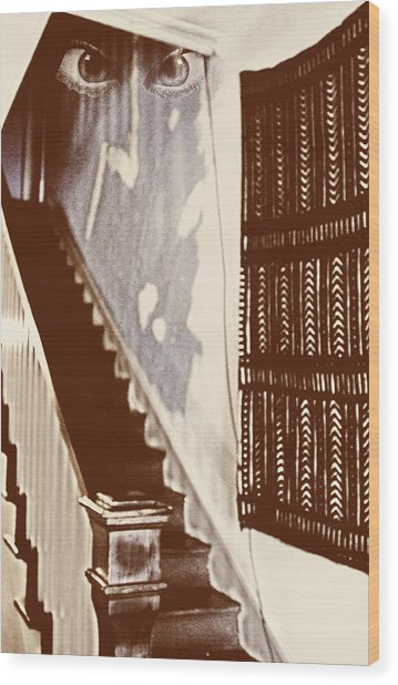 Eyes At The Top Of The Stairs Wood Print