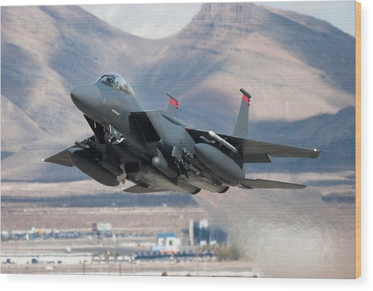 F-15e Strike Eagle Flying Past Mountains Wood Print by CT757fan