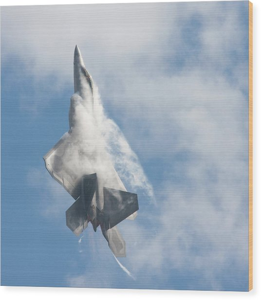 F-22 Raptor Creates Its Own Cloud Camouflage Wood Print