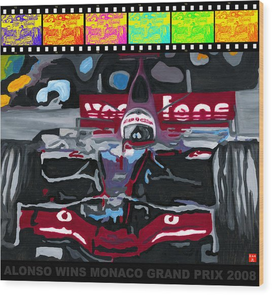 F1 Alonso Wins Monaco 2008 Pop 2 Wood Print