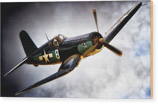 F4u Corsair 'jolly Roger Jump' Wood Print