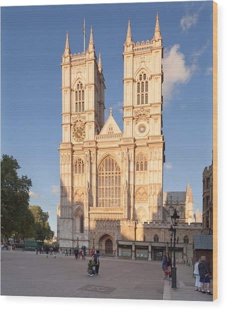 Facade Of A Cathedral, Westminster Wood Print
