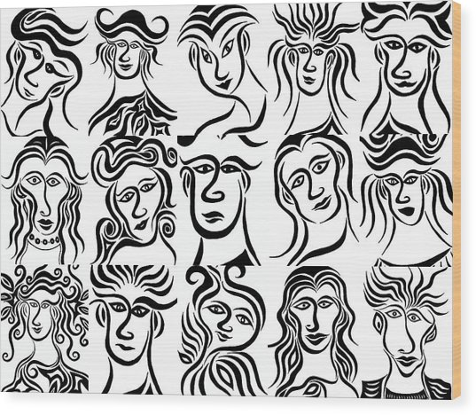 Face Dances Wood Print by Beth Akerman