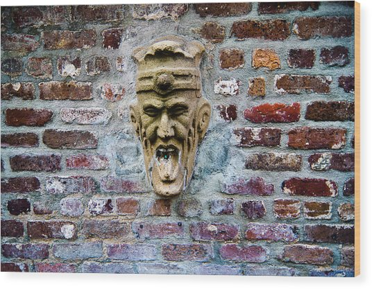 Face Fountain In Pirates Courtyard Wood Print
