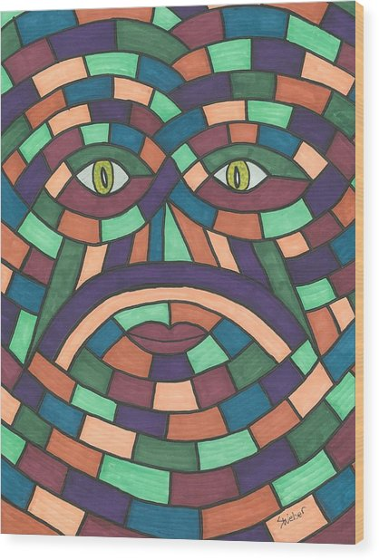 Face In The Maze Wood Print