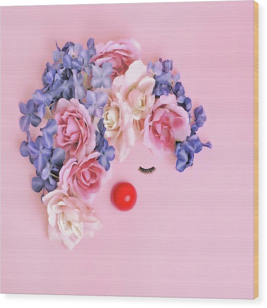Face Made From Flowers And False Wood Print by Juj Winn