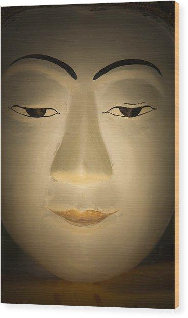 Face Of Buddha Wood Print