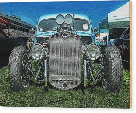 Face Of The Rat Rod Wood Print