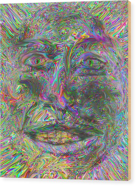 Face On Fire Wood Print