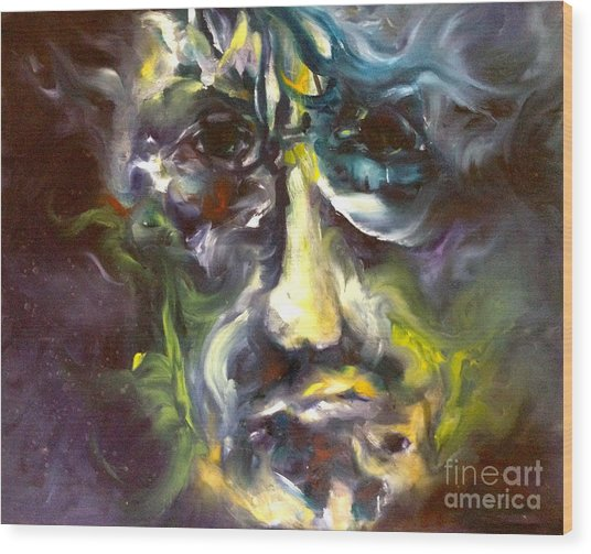 Face Series 5 The Other Side Wood Print by Michelle Dommer