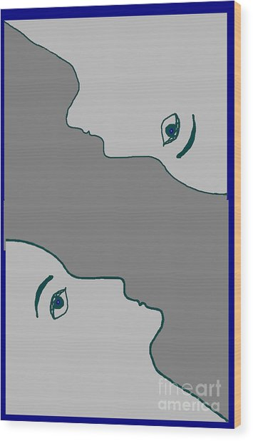 Face To Face Wood Print by Meenal C