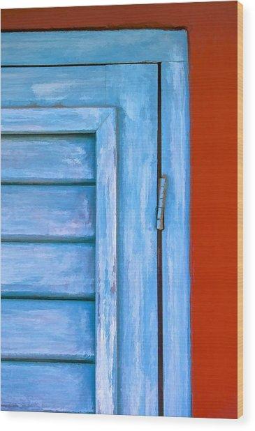 Faded Blue Shutter IIi Wood Print