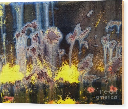 Fae And Fireworks Abstract Wood Print