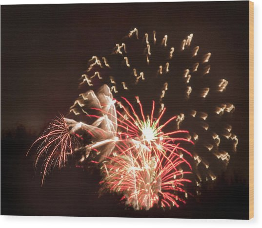 Faerie In The Fireworks Wood Print