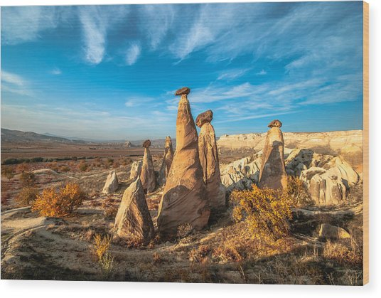 Fairy Chimneys In Cappadocia Wood Print by ArdaAdnanKalkan