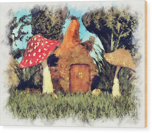 Fairy House With Toadstool Wood Print
