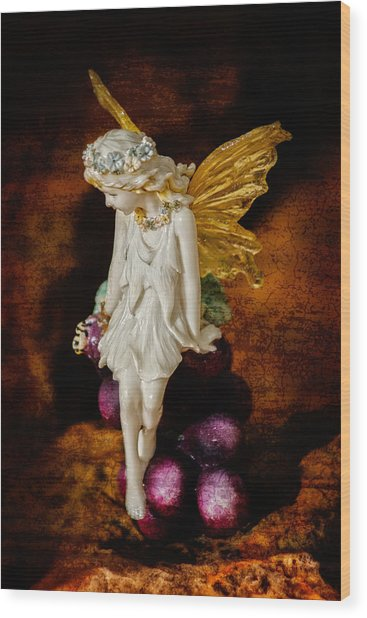 Fairy Of The Harvest Moon Wood Print
