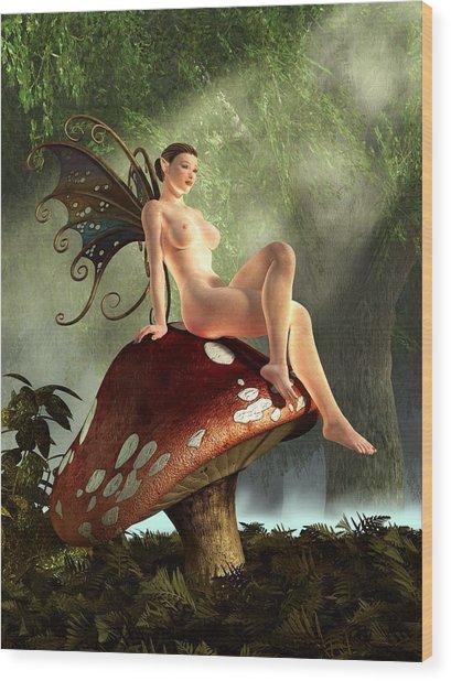 Fairy Toadstool Wood Print