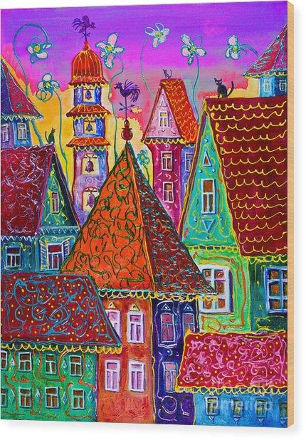 Magic Town Wood Print