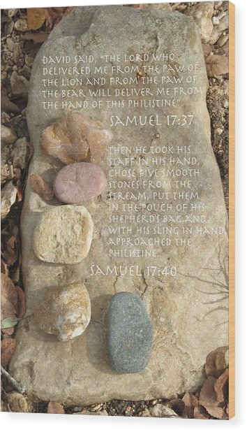 Faith And Five Stones Wood Print