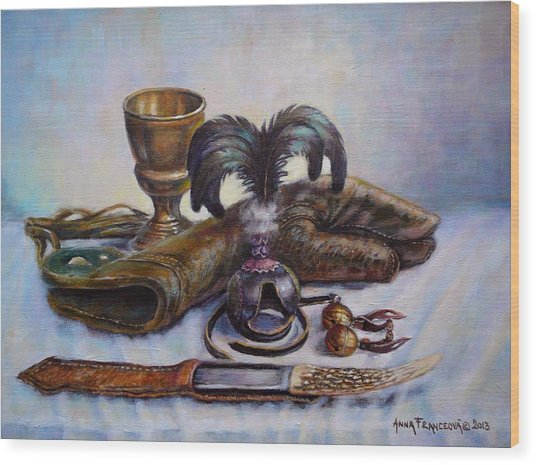 Falconry Still Life. Wood Print by Anna Franceova