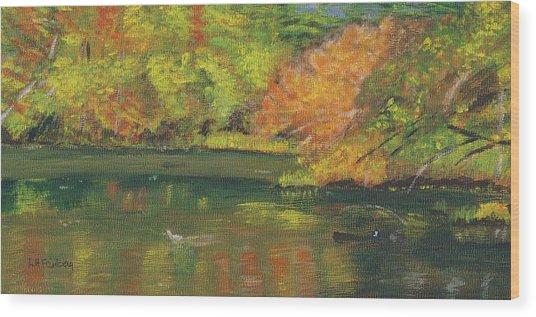 Fall At Dorrs Pond Wood Print