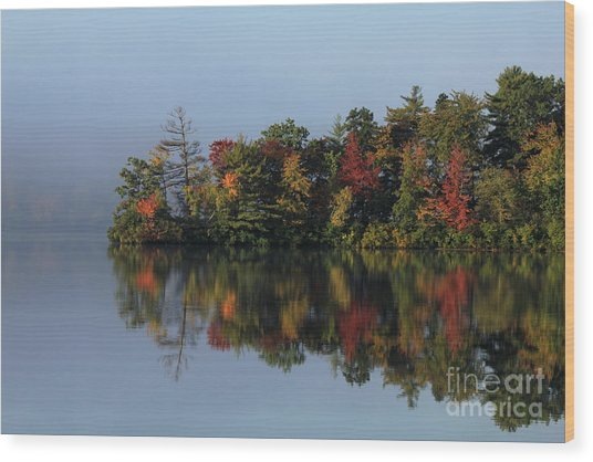 Fall At Heart Pond Wood Print