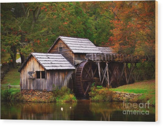 Wood Print featuring the photograph Fall At Mabry Mill by T Lowry Wilson