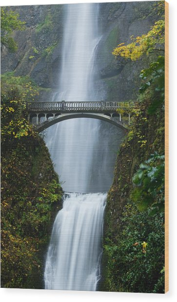Fall At Multnomah Falls Wood Print