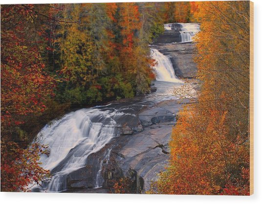 Fall At Triple Falls Wood Print