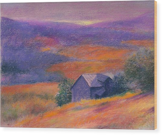 Fall Barn Pastel Landscape Wood Print