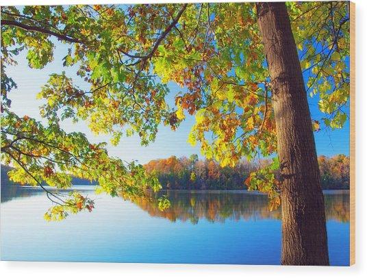 Fall By The Lake Wood Print