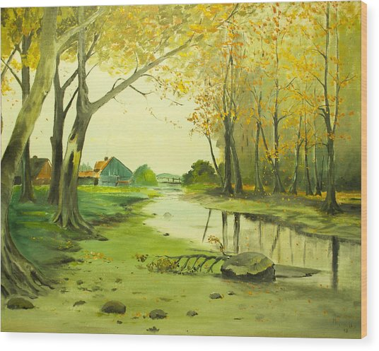 Fall By The Stream By Merlin Reynolds Wood Print