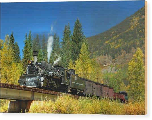 Fall Colored Bridge Wood Print