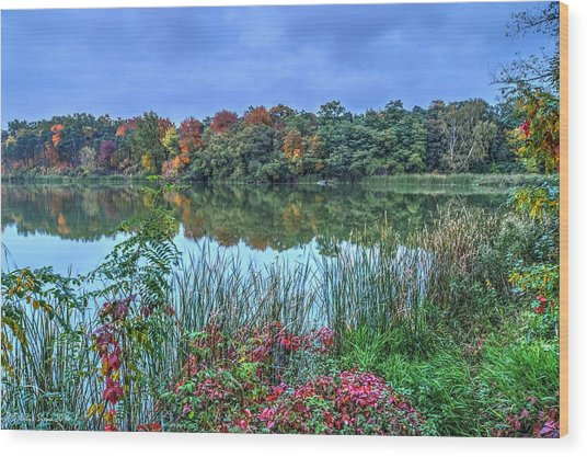 Fall Colors At Blue Hour Near Zegrze Wood Print