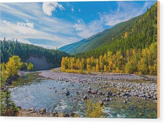 Fall Colors At Glacier National Park Wood Print by Rohit Nair