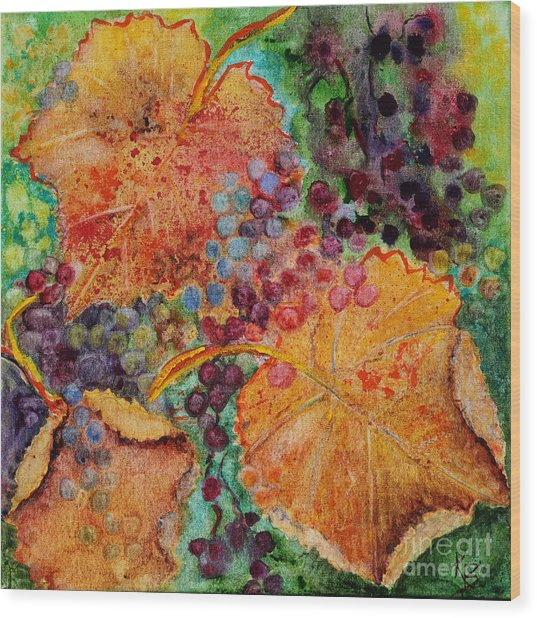 Wood Print featuring the painting Fall Colors by Karen Fleschler