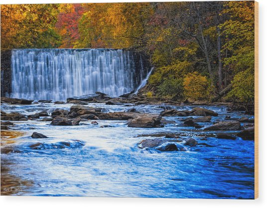Fall Comes To Vickery Creek In Roswell Wood Print