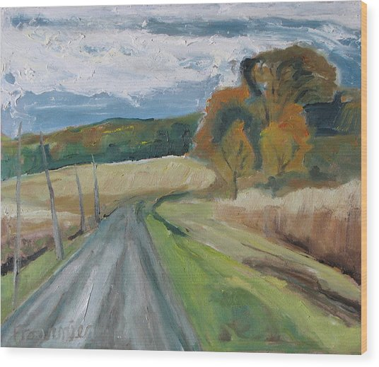 Fall Country Road  Wood Print by Francois Fournier