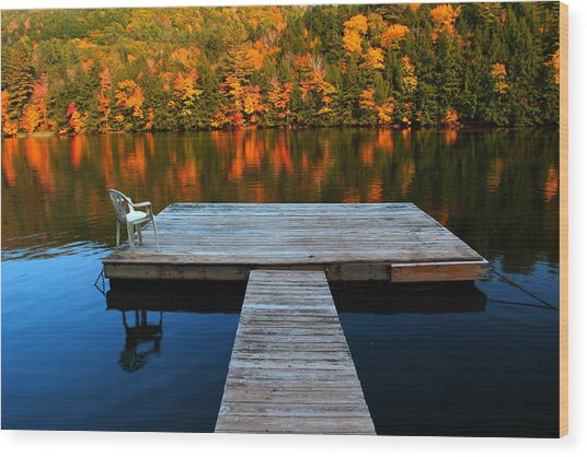 Fall Dock In Vt Wood Print