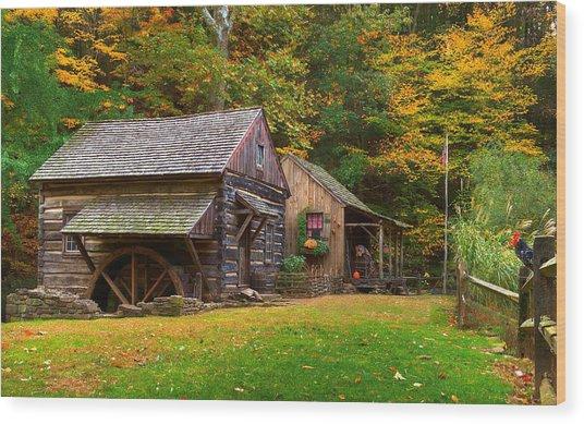 Fall Down On The Farm Wood Print