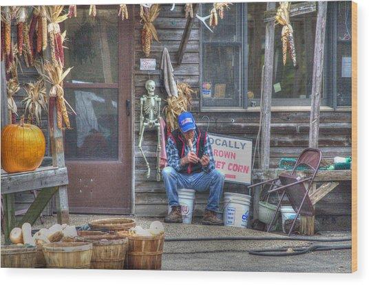 Fall Farmer's Market Wood Print
