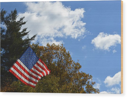 Fall Flag Wood Print